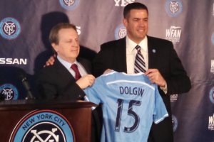 Tracy Dolgin, President and Chief Executive Officer of the YES Network (left) with Tim Pernetti, Chief Business Officer of New York City FC during Thursday's announcement.
