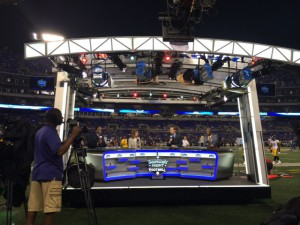 Filmwerks built a set for Thursday Night Football that production cres can erect on the field in less than two minutes.