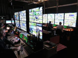 The NBC Sports Ryder Cup replay area shown here operating in a 5,180-sq.-ft. cabin.