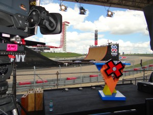 ESPN's X Games set (foreground) on Big Air course (background) at Circuit of the Americas in Austin