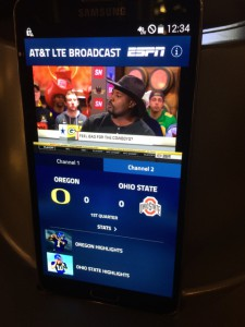 AT&T is demoing LTE broadcast tonight during the CFP National Championship game at AT&T Stadium.