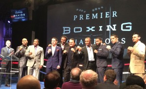 PBC on NBC lead analyst Sugar Ray Leonard (center) with the fighters involved in the series' first two events at an NBC media event in New York on Wednesday.
