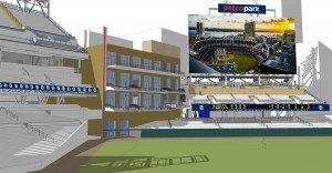 A rendering of the Petco Park left-field upgrades, which are scheduled to be completed in time for the Padres' home opener on April 9 vs. the San Francisco Giants.