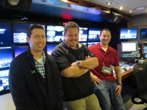 (l-to-r) Broadcasters around the world will rely heavily on the talents of world feed director Joe Zucco, producer Brian Hennessey, and NFL, senior director of international production operations during coverage of the big game.