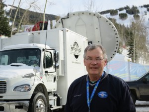 Chip Adams and the production team for NBC Sports are delivering live coverage of the ski championships for U.S. viewers.