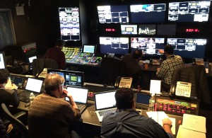 Inside the Hammerstein Ballroom control room, which is handling the Inside the NBA production
