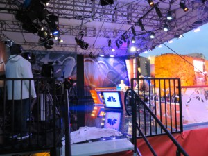 NBC's set at Super Bowl Central in downtown Phoenix.