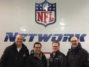 The NFL Media ops team (from left): Dave Shaw, VP Operations and Engineering; Mike Kusama, Director Remote Operations; Bob Hess, Sr. Manager Remote Operations; and Adam Acone, Director Media Operations