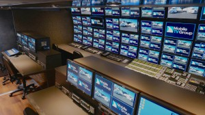 The 37HDX production room features a 105-display monitor wall.