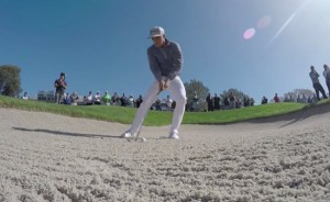 A from-the-bunker shot in Bedrocket Media Ventures' 40-second video Rickie Fowler