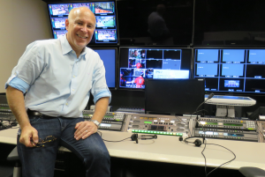 Pac-12 Networks' Jonathan Leess in one of the four control rooms that can host IP productions.