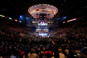The massive LED lighting truss high above the ring for NBC Sports' Premier Boxing Champions fights