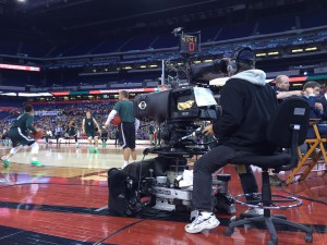 CBS and Turner have deployed almost 40 cameras throughout Lucas Oil Stadium.