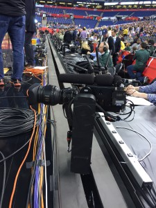 The Rail Cam system requires the court to be on a raised floor.