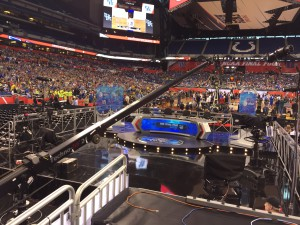 One of two studio sets in the stadium is located floor level and features a large TechnoJib.