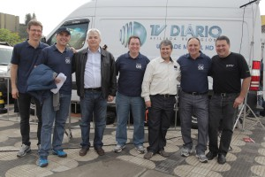 Pictured from left to right is Marcelo Carloni, technical director, TV Diário; Dino Rodrigues,  news manager, TV Diário; Cicero Assis, director, Videodata; Renato Concenza, executive  director, TV Diario; Marcelo Ganga, broadcast project manager, Videodata; Romeu Alencar, engineering director, TV Diario and  Mario Theo, operations director, RTV Filmes.