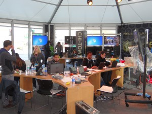 NFL Digital Media's Social Media Command Center - The Huddle - being constructed on Wednesday