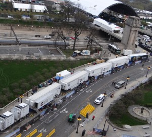 NFL Network's truck compound in Grant Park