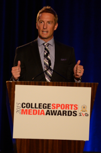 Joel Klatt of Fox Sports served as emcee for the 2015 SVG/NACDA College Sports Media Awards.