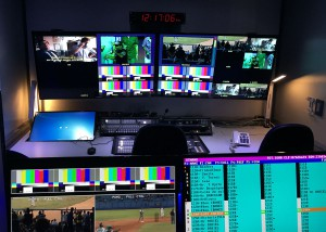 The production-control room inside RTV Comercial's truck