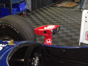 One of three dual-path cams aboard 12 Indy cars, this one atop the air intake