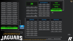 Ross Video designed a custom control panel for the Jaguars to manage stats, social media, and other information on the videoboards.