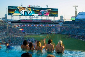 A new platform area in EverBank Field's north end zone features pools, unique food and beverage offerings, and interactive activities.