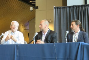 From left to right: BeckTV's John FitzRandolph, Ross Video's Kevin Cottam, and Diversified Systems' Duane Yoslov discuss maximizing control rooms.