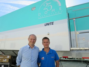 Dan Miodownik (left) , HBS project director and Jorg Sander, HBS director of operations, in front of the Dome production truck that is being used to produce events out of BC Place in Vancouver.