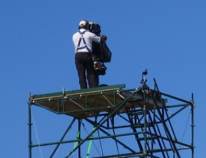 Nine Monopod systems gave the Fox Sports camera operators a chance to shoot 360 degrees without hinderance of railings.