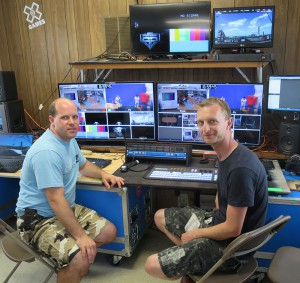 Skype's Mark Wass (right) leads the X Games Extra production team in Austin.