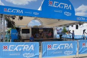 Skype's X Games Extra Studio was once again produced in an Airstream trailer in Austin.