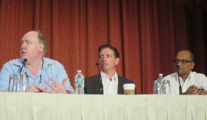 From left: CBS Sports Network's Walter Raps, NerVve Technologies' Thomas Slowe, and ARRIS's Venu Vasudevan