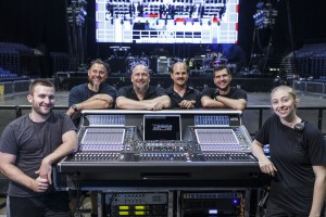 Chris King, monitor tech; Jerrell Evans, systems engineer/crew chief; Chad Olech, FOH engineer; Tim Banas, PA tech; Kevin Dennis, monitor engineer; and Katie Hughes, PA tech at the DiGiCo SD5 FOH console out on Fall Out Boy's current tour