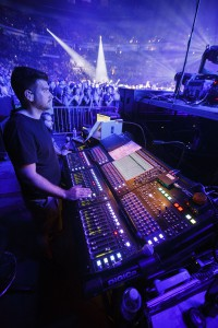 Kevin Dennis running the DiGiCo SD10 monitor mix desk