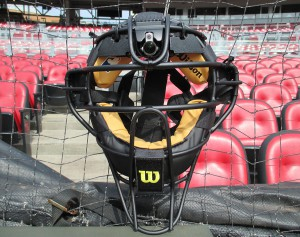 The ultra-small camera is positioned at the top of the catcher's mask.