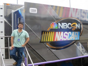 Craig Bernstein of NBC Sports on the steps of PeacockOne, the new home for NBC's NASCAR production team.