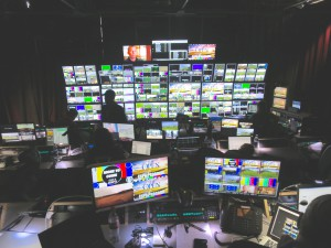 ESPN's control room at The Open offers plenty of space  for the production team.