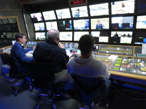 The ESPN ITV production team on the front bench in CTV's OB9 production unit