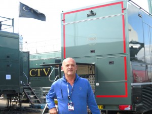Hamish Greig, CTO of CTV OB, technical director, outside of OB10 which is being used by the BBC for its coverage of The Open.