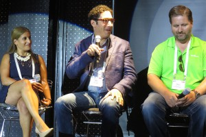 From left: NCAA Digital's Hania Poole, Microsoft's Lee Brenner, and Limelight Networks' Jason Thibeault