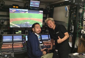 Kazutaka Noda (right) and the show's A1 inside the audio-production trailer