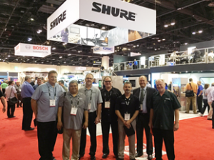 Left to Right: Highway Marketing Reps Gary Stevens, Rick Hernandez, Jeff Ballow, Scott Baker, Clayton Mills, Kevin Smith (Shure Regional Manager), Glenn Yates