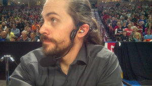 Andrew McCharen at courtside, mixing for the Harlem Globetrotters