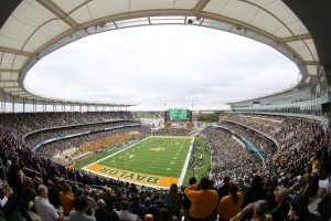 New on-campus McLane Stadium features a Daktronics 15HD display in the south end zone and ribbon displays stretching around the horseshoe.