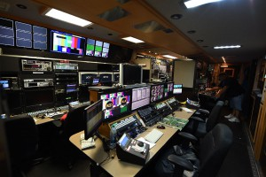 Inside the production compound at Lamade Stadium