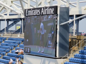 One of four new videoboards in Arthur Ashe Stadium