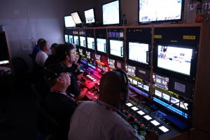 The camera shade area within ESPN's U.S. Open technical operations center.