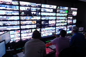 The control room for Arthur Ashe Stadium matches has plenty of room for the ESPN production team.