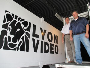 Bob Lyon (left) and Chad Snyder at Lyon Video headquarters